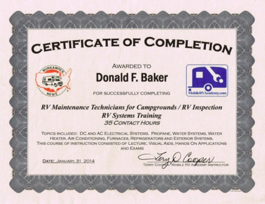 Workamper-News-RV-Maintenance-Certificate-Don-Baker